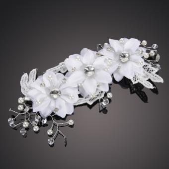 New Handmade Rhinestone Wedding Bridal Floral Lace Pearl Pin Hairpin (Intl)