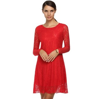 Cyber FINEJO Fashion Women Sweet Floral Lace Round Neck Long Sleeve Casual Loose Dress (Red) - Intl