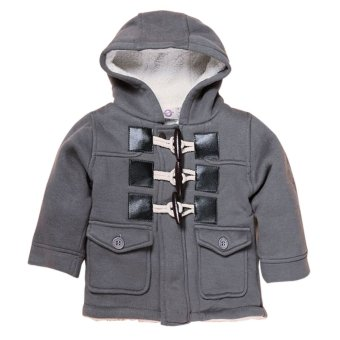 Boy Duffle Fleece Warm Hooded Coat Grey - intl