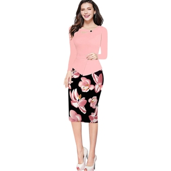 Women Polyester Floral Faux Two Piece Bodycon Dress (Pink) - intl