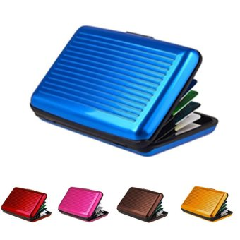 Moonar ID Credit Card Case Antimagnetic Waterproof Aluminum Card Holder (Blue) - intl