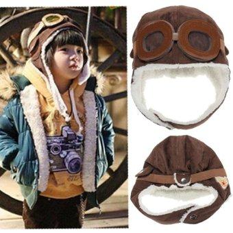 Baby Boy Girl Kids Toddler Pilot Aviator Warm Winter Cap Hat Beanie Cool Earflap Brown - intl