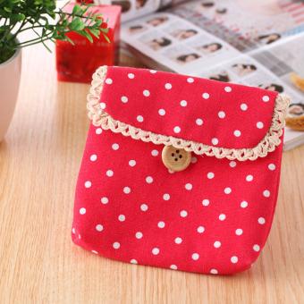 Children Girl Cute Polka Dot Coin Purse Bag Case Napkins MakeupPouch Red - Intl