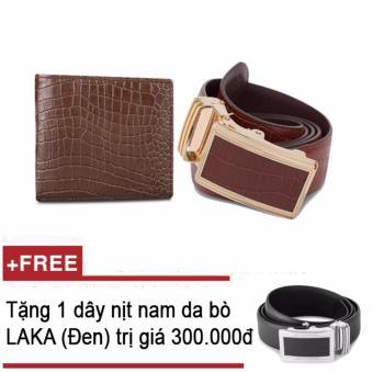 Bộ ví và thắt lưng nam da bò LAKA nâu vân cá sấu + Tặng 01 thắt lưng nam da bò LAKA (đen trơn) trị giá 300.000đ
