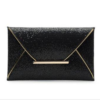 US Women Sequins Evening Party Glitter Envelope Bag Purse Clutch Handbag Satchel Black