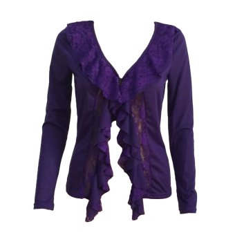 Women Slim Coat Hollow Lace Ruffle Deep V Neck Long Sleeve Thin Sexy Outwear Coat Purple - Intl