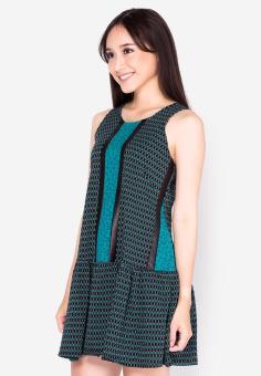Đầm xòe hạ eo phối họa tiết xanh ngọc Cirino