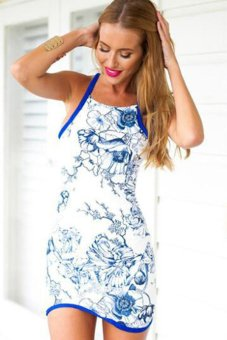 Cyber Women's Fashion Casual O-neck Off-shoulder Sleeveless Floral Printed Bodycon Mini Dress Blue - intl
