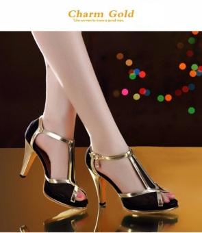 Giày Cao Gót Viền Vàng Charm Gold – CG011180 (Đen)