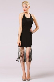 Sunweb Sexy Women O-neck Halter Backless Fringe Hem Slim Bodycon Sleeveless Casual Dress ( Black ) - intl