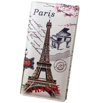 Women Long Wallet Smooth PU leather Paris Flags Eiffel Tower Style Wallets - Intl