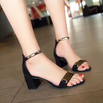 Giày cao gót quai vàng - GiayKS - CG001 (đen)