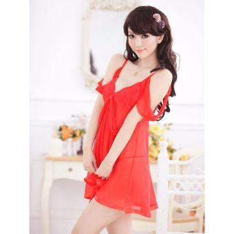 Đầm ngủ trễ vai dịu dàng Chodeal24h (đỏ)