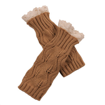 Hollow Out Lace Knitted Gloves Khaki