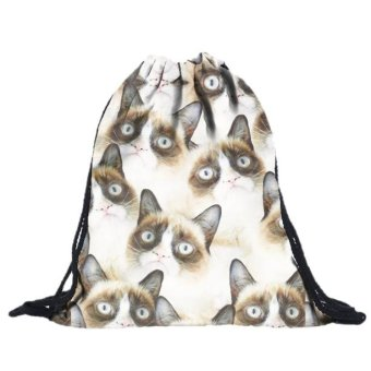 Unisex Cat Backpacks 3D Printing Bags Drawstring Backpack F - intl