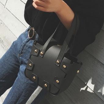 Women Fashion Handbag Rivet Pattern Shoulder Bag Small Tote Ladies Purse Black - intl