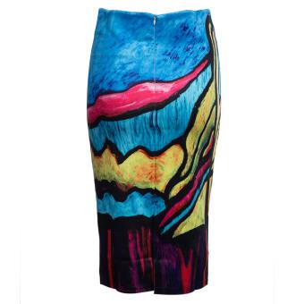 Trendy Midi Skinny Skirt High Waist Printed Color Block Women (Blue and Yellow) - intl