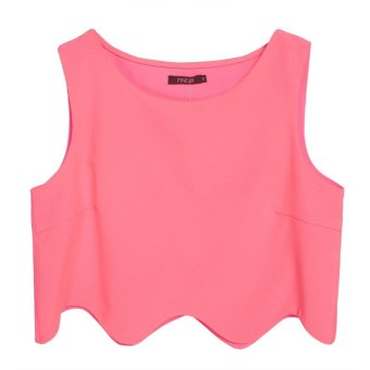Sunweb Finejo Stylish Ladies Women Casual Chiffon Backless Sleeveless Irregullar Length Top Blouse ( Red ) - intl