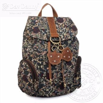 Balo nữ kiểu dáng hoa văn Dav Danny màu xanh đen đậm có 2 túi nhỏ bên hông trẻ trung dành cho bạn gái - DD146F859