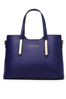 Women Ladies Large Capacity PU Leather Tote Handbag Shoulder Messenger Bag Blue (Intl) - intl