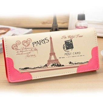 Moonar Multi-layer Long Clutch Wallet Effel Towel Pattern PU leather Card Holder (Rose) - intl