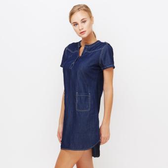 Đầm jean nữ tay ngắn HK16-LJS01 Xanh đậm