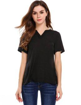 Cyber Women Casual V-Neck Short Sleeve Solid Loose Pullover T-shirt ( Black ) - intl
