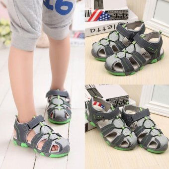 Moonar Boys Summer Sandal Children Casual Breathable Antiskid Leather Shoes (Green) - intl