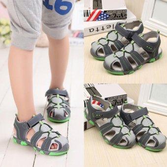 Moonar Boys Summer Sandal Children Casual Breathable Antiskid Leather Shoes (Green) - intl