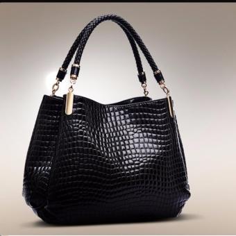 Túi xách giả da vân cá sấu trơn bóng Chodeal24h- Hàng cao cấp (đen)