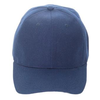 Unisex Plain Baseball Sport Cap Blank Curved Visor Hat (Dark Blue) - Intl