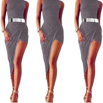 Gamiss Woman Milk Silk Hip Dress Irregular Hem Design (Gray) - intl