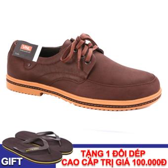 Giày tây nam da thật chính hãng Da Giày Việt Nam VNL5AZ54N-1 (Nâu) + Tặng 1 đôi dép