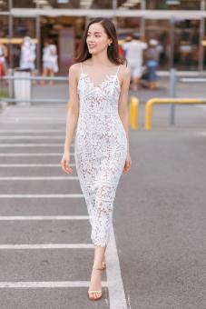 Đầm ren hai dây hạ vy sang trọng cao cấp | Đầm ren đẹp