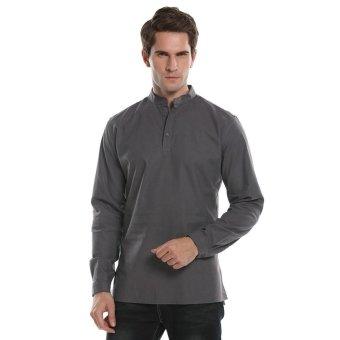 Linemart COOFANDY Men Fashion Long Sleeve Solid Slim Fit Casua Shirt Henley Shirts ( Grey ) - intl