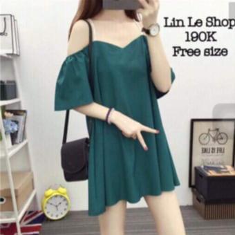 Đầm Form Rộng Rớt Vai Hana Fashion 024 ( xanh thẫm)