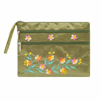 Ví cầm tay 3 khóa Hoian Gifts vải lụa thêu hoa (màu rêu) HA-50J
