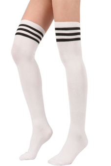 Women Triple Stripe Style Soccer Baseball Football Sport Over Knee Long Ankle Socks Tube Socks White