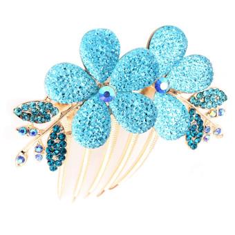 Hair Rhinestone Headdress Flower Blue (Intl)