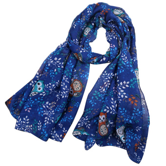 Women Lady Spring Fall Winter Beach Voile Cartoon Owl Pattern Neck Warmer Scarf Wraps Royal Blue - intl