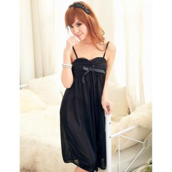 Đầm ngủ phi phối băng ren ngực Chodeal24h (đen)