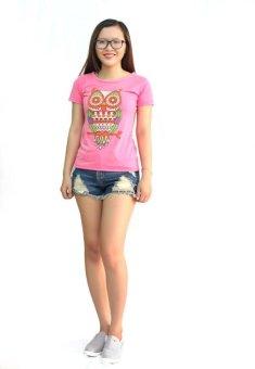 Áo thun họa tiết cú mèo D49 (hồng) Trần Doanh