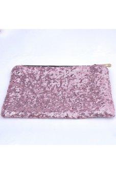 Moonar Sequin Party Clutch Make Up Evening Toiletry Sequins Bag Purse (Pink) - Intl