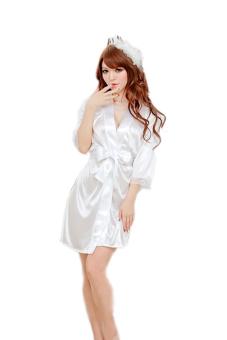 Váy ngủ nữ tay lửng Huy Kiệt V031 (Trắng)