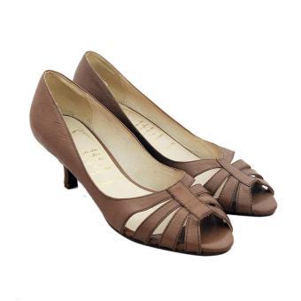 Giày nữ cao gót da bò cao cấp màu nâu xám ESW17