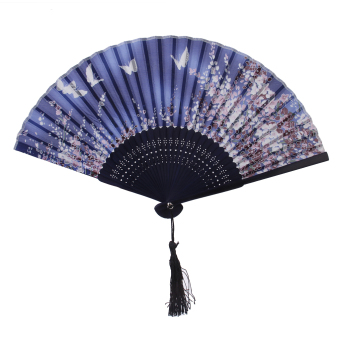 Butterfly Sakura Silk Bamboo Folding Hand Fan Wedding Party Gift - Intl