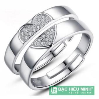 Nhẫn đôi Bạc Hiểu Minh nc014 trái tim tình yêu