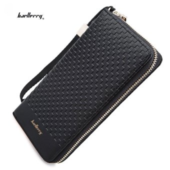 Baellerry Wallet Weave Plaid Letter Zipper Clutch Portable Vertical(Black) - intl