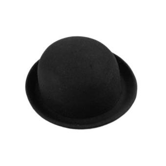 Wool Felt Bowler Fedora Hat Black