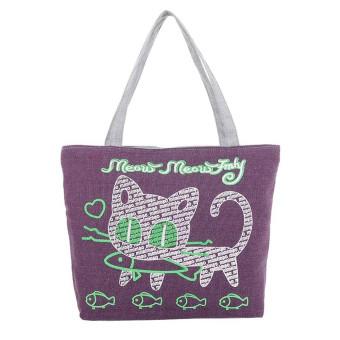 Women Cute Cartoon Cat Canvas Bags Shoulder Bag Casual Handbag Purple - Intl